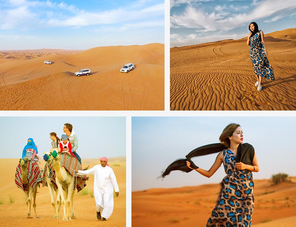 迪拜的沙漠旅游丰富多彩,沙漠中的沙子又细又软,感觉非常舒适,不同