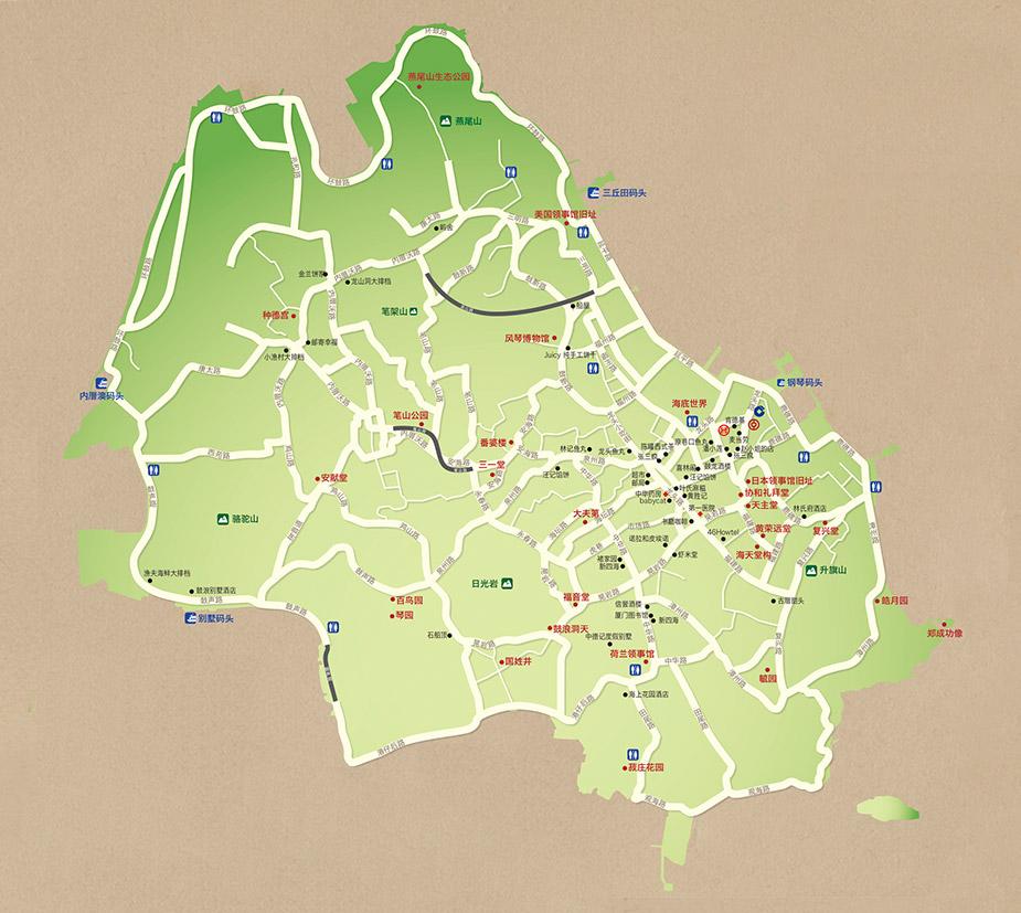 厦门市地图手绘