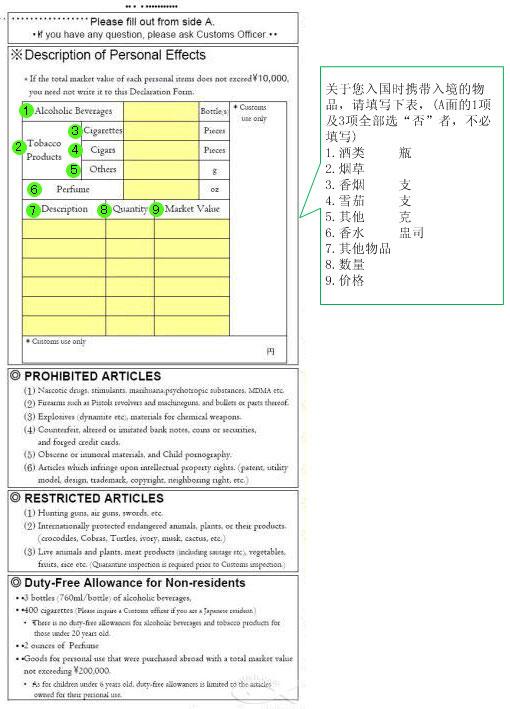 日本出入境单及海关申报单填写模板